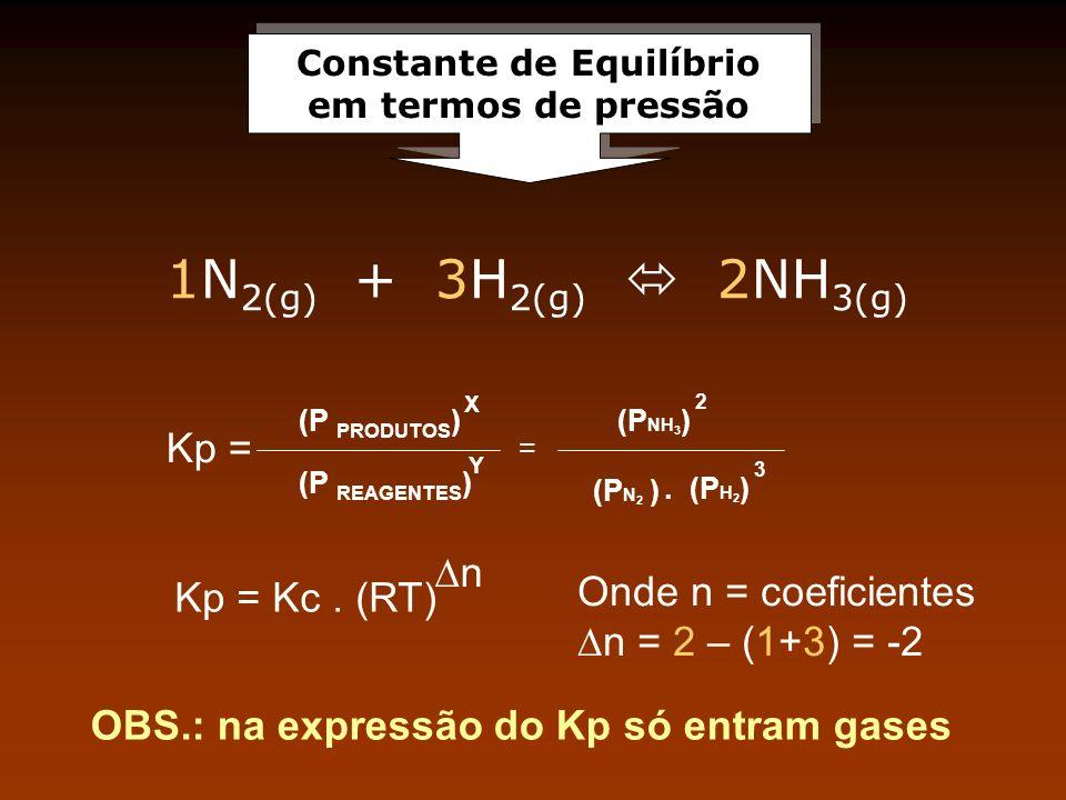 Constante de Equilíbrio em termos de pressão Constante de Equilíbrio em termos de pressão Kp = (P PRODUTOS ) = (P NH 3 ) (P N 2 ). (P H 2 ) X Y 2 3 (P