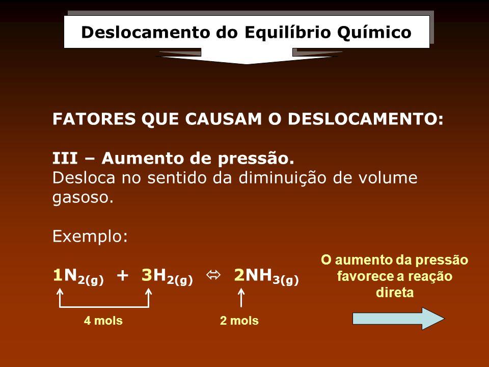 Deslocamento do Equilíbrio Químico FATORES QUE CAUSAM O DESLOCAMENTO: III – Aumento de pressão. Desloca no sentido da diminuição de volume gasoso. Exe