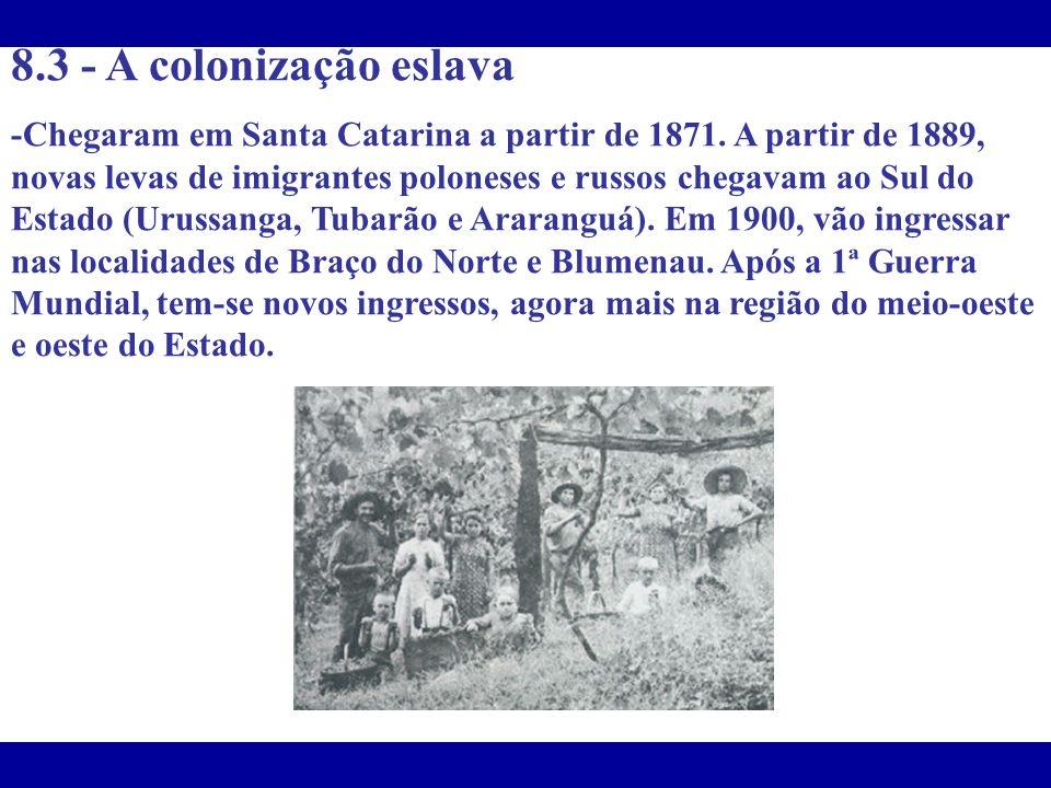 8.3 - A colonização eslava -Chegaram em Santa Catarina a partir de 1871. A partir de 1889, novas levas de imigrantes poloneses e russos chegavam ao Su