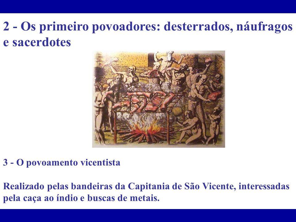 2 - Os primeiro povoadores: desterrados, náufragos e sacerdotes 3 - O povoamento vicentista Realizado pelas bandeiras da Capitania de São Vicente, int