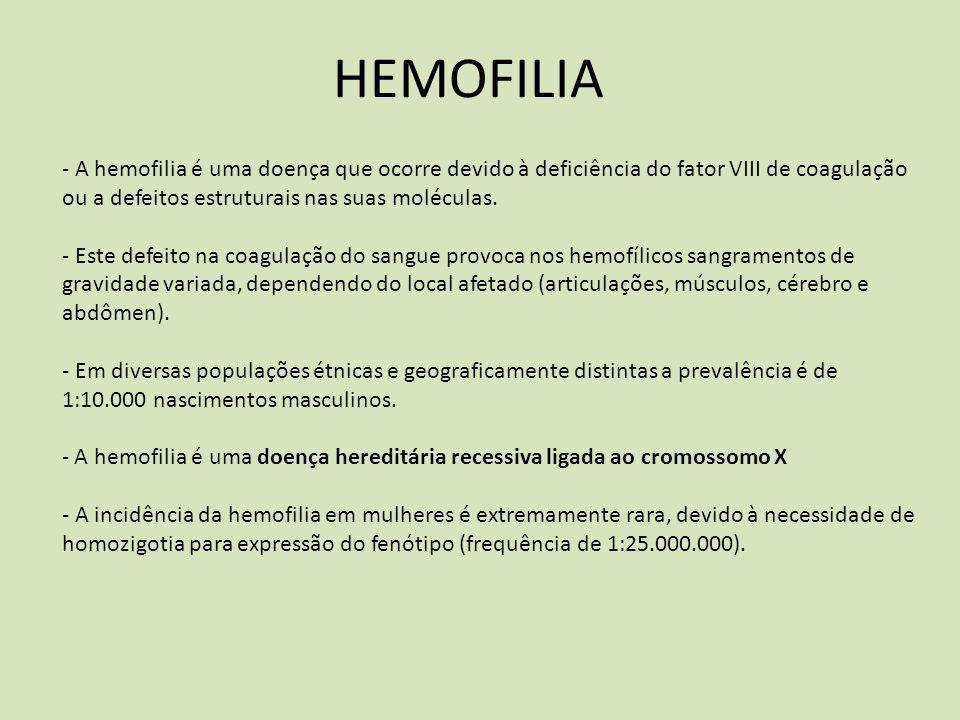 HEMOFILIA - A hemofilia é uma doença que ocorre devido à deficiência do fator VIII de coagulação ou a defeitos estruturais nas suas moléculas. - Este