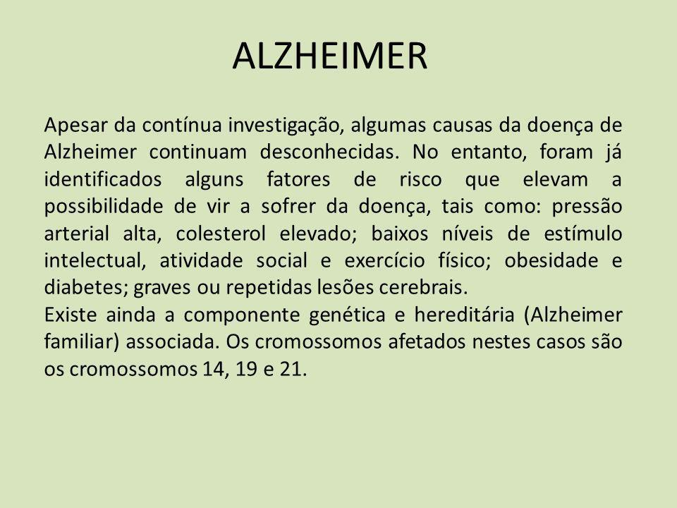 ALZHEIMER Apesar da contínua investigação, algumas causas da doença de Alzheimer continuam desconhecidas. No entanto, foram já identificados alguns fa