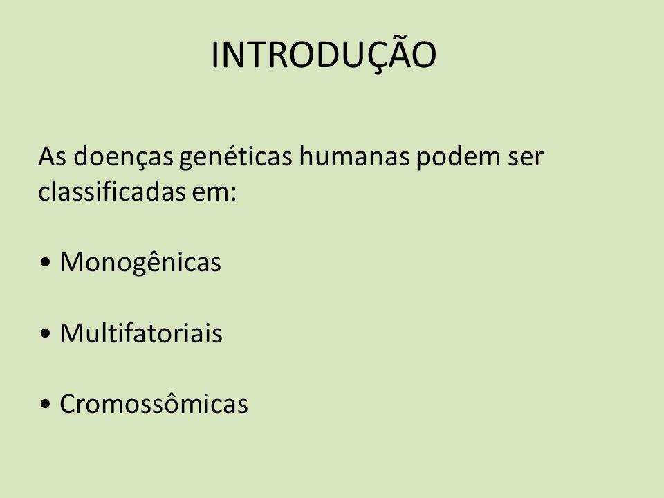 As doenças genéticas humanas podem ser classificadas em: Monogênicas Multifatoriais Cromossômicas