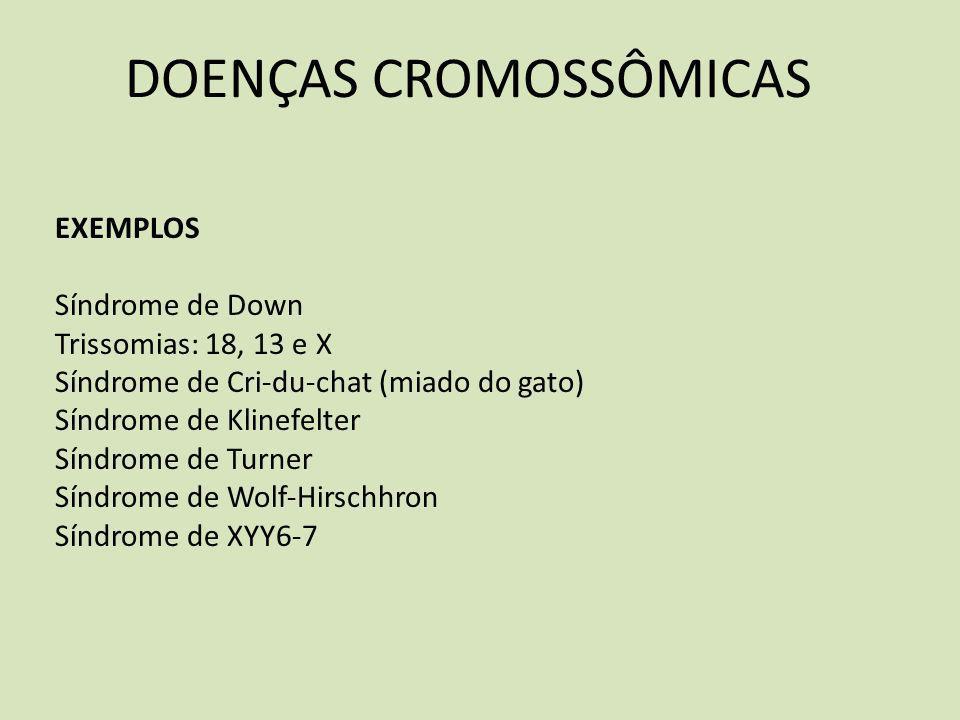 DOENÇAS CROMOSSÔMICAS EXEMPLOS Síndrome de Down Trissomias: 18, 13 e X Síndrome de Criduchat (miado do gato) Síndrome de Klinefelter Síndrome de Turne