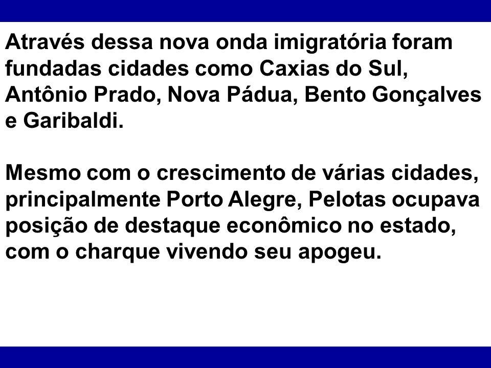 Através dessa nova onda imigratória foram fundadas cidades como Caxias do Sul, Antônio Prado, Nova Pádua, Bento Gonçalves e Garibaldi. Mesmo com o cre