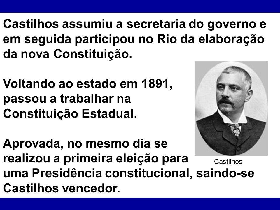 Castilhos assumiu a secretaria do governo e em seguida participou no Rio da elaboração da nova Constituição. Voltando ao estado em 1891, passou a trab