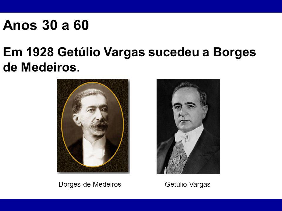 Anos 30 a 60 Em 1928 Getúlio Vargas sucedeu a Borges de Medeiros. Borges de Medeiros Getúlio Vargas