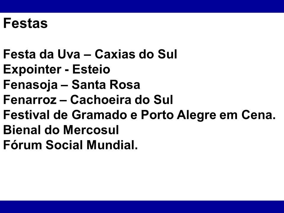 Festas Festa da Uva – Caxias do Sul Expointer - Esteio Fenasoja – Santa Rosa Fenarroz – Cachoeira do Sul Festival de Gramado e Porto Alegre em Cena. B