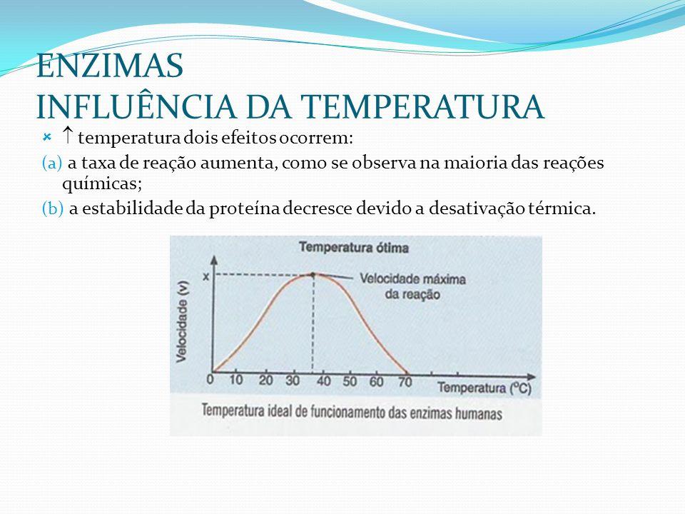 ENZIMAS INFLUÊNCIA DA TEMPERATURA temperatura dois efeitos ocorrem: (a) a taxa de reação aumenta, como se observa na maioria das reações químicas; (b) a estabilidade da proteína decresce devido a desativação térmica.