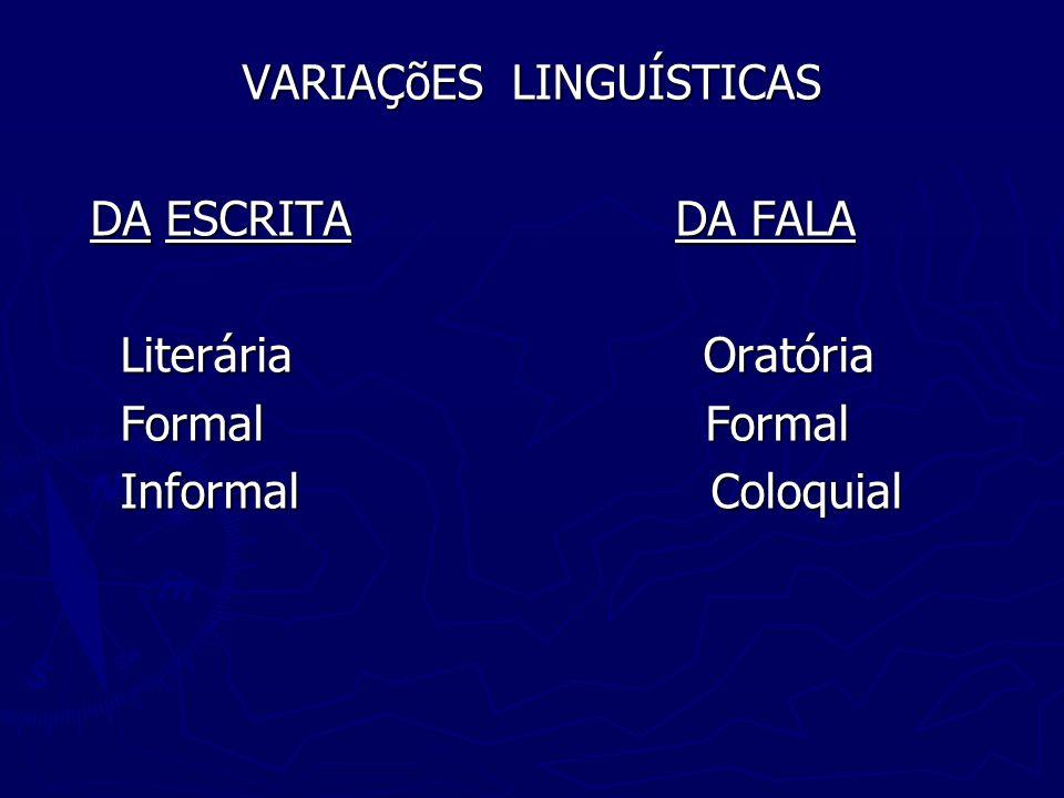 Variações da fala Variação coloquial: * Não há tanta preocupação com a norma padrão; * Não há tanta preocupação com a norma padrão; * Frases curtas, de estrutura sintática simples; * Frases curtas, de estrutura sintática simples; * Uso de gírias e expressões populares; * Uso de gírias e expressões populares; * Simplicidade vocabular – repertório pequeno; * Simplicidade vocabular – repertório pequeno; * Redução e simplificação fonológica de vocábulos; * Redução e simplificação fonológica de vocábulos; * Presença rara de nexos subordinativos; * Presença rara de nexos subordinativos; * Uso de gestos, expressão corporal e facial.