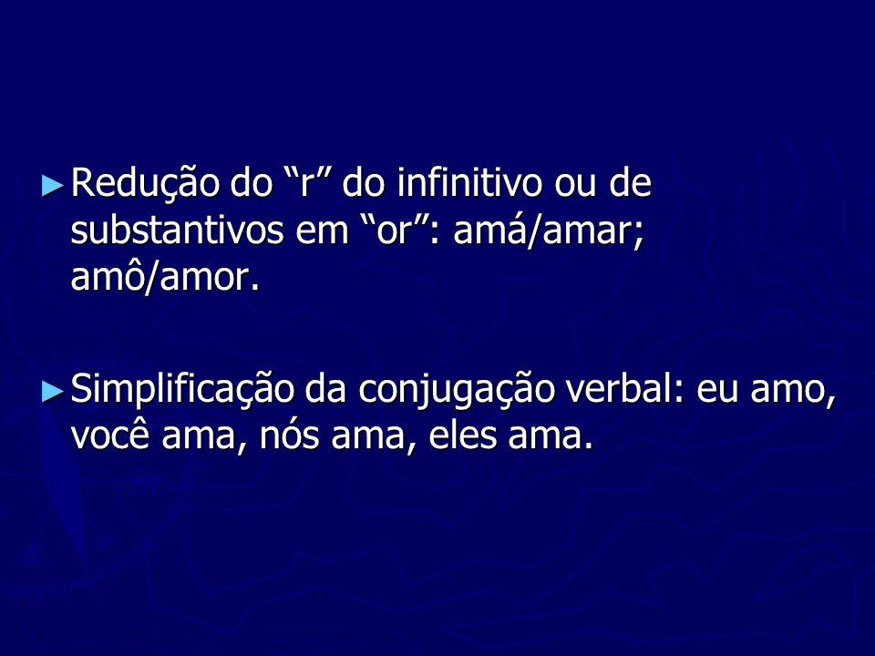 Redução do r do infinitivo ou de substantivos em or: amá/amar; amô/amor. Redução do r do infinitivo ou de substantivos em or: amá/amar; amô/amor. Simp