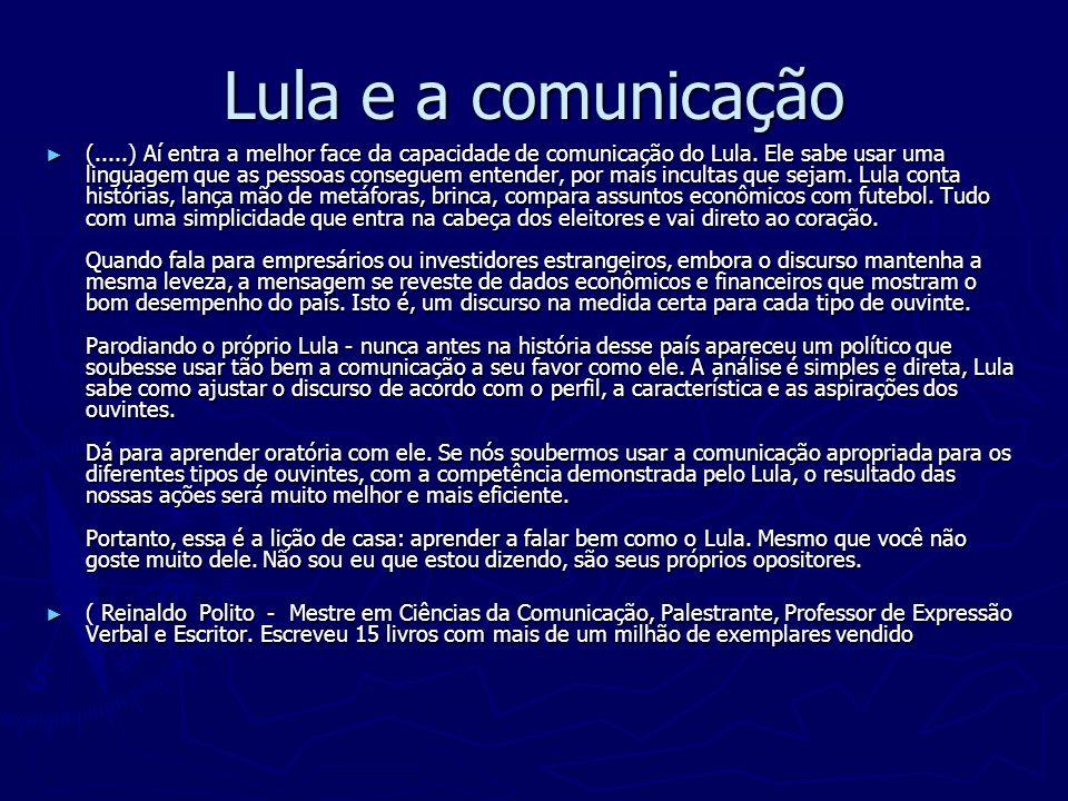 Lula e a comunicação (.....) Aí entra a melhor face da capacidade de comunicação do Lula. Ele sabe usar uma linguagem que as pessoas conseguem entende