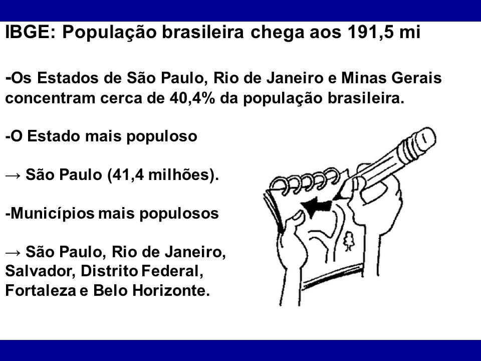 IBGE: População brasileira chega aos 191,5 mi - Os Estados de São Paulo, Rio de Janeiro e Minas Gerais concentram cerca de 40,4% da população brasilei