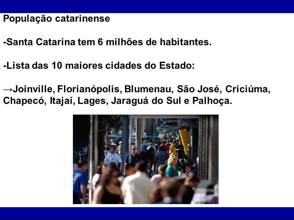 População catarinense -Santa Catarina tem 6 milhões de habitantes. -Lista das 10 maiores cidades do Estado: Joinville, Florianópolis, Blumenau, São Jo