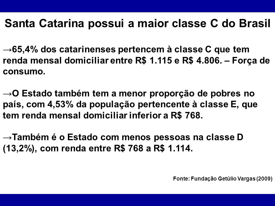 Santa Catarina possui a maior classe C do Brasil 65,4% dos catarinenses pertencem à classe C que tem renda mensal domiciliar entre R$ 1.115 e R$ 4.806