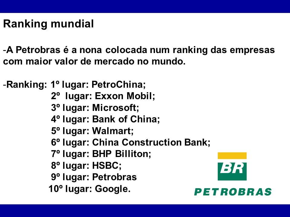 Ranking mundial -A Petrobras é a nona colocada num ranking das empresas com maior valor de mercado no mundo. -Ranking: 1º lugar: PetroChina; 2º lugar:
