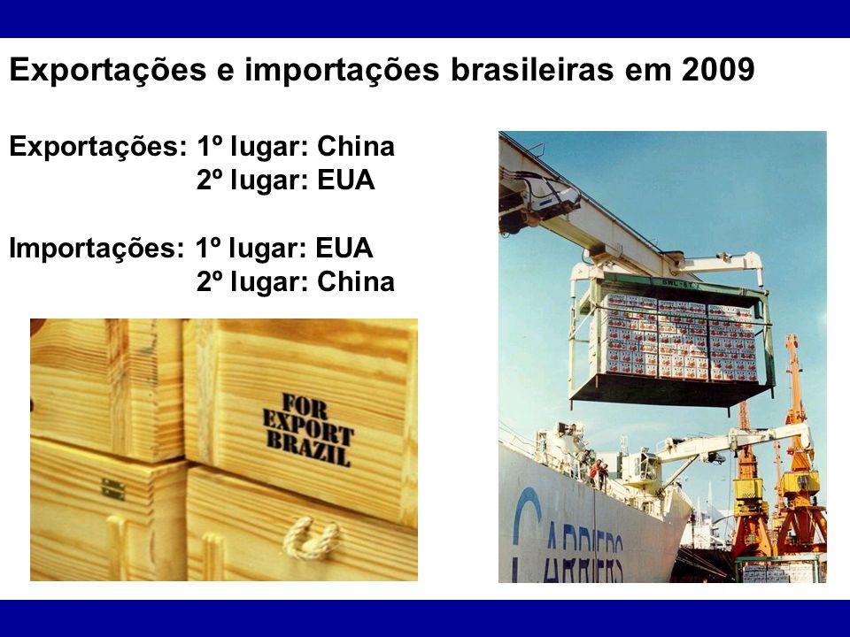 Exportações e importações brasileiras em 2009 Exportações: 1º lugar: China 2º lugar: EUA Importações: 1º lugar: EUA 2º lugar: China