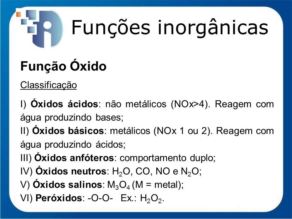 Funções inorgânicas Função Óxido Classificação I) Óxidos ácidos: não metálicos (NOx>4). Reagem com água produzindo bases; II) Óxidos básicos: metálico