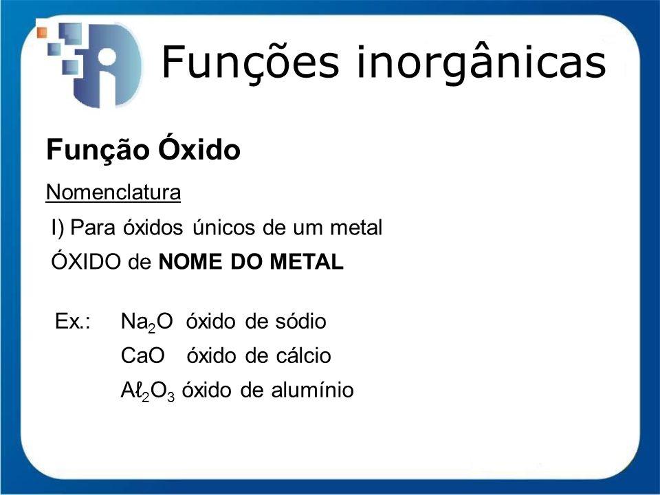 Funções inorgânicas Função Óxido Nomenclatura I) Para óxidos únicos de um metal ÓXIDO de NOME DO METAL Ex.:Na 2 O óxido de sódio CaO óxido de cálcio A