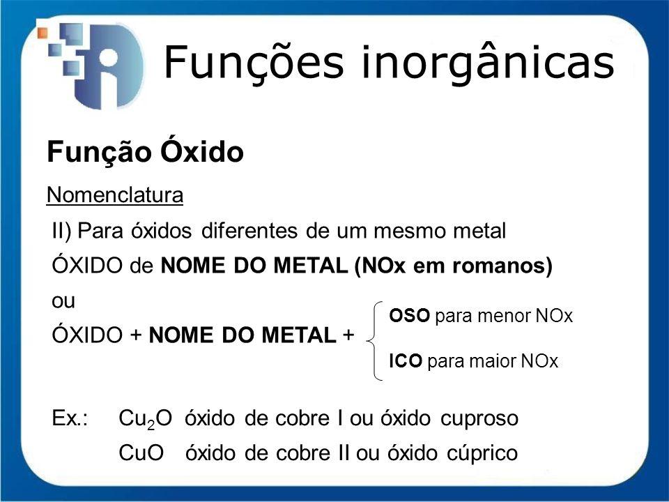 Funções inorgânicas Função Óxido Nomenclatura II) Para óxidos diferentes de um mesmo metal ÓXIDO de NOME DO METAL (NOx em romanos) ou ÓXIDO + NOME DO