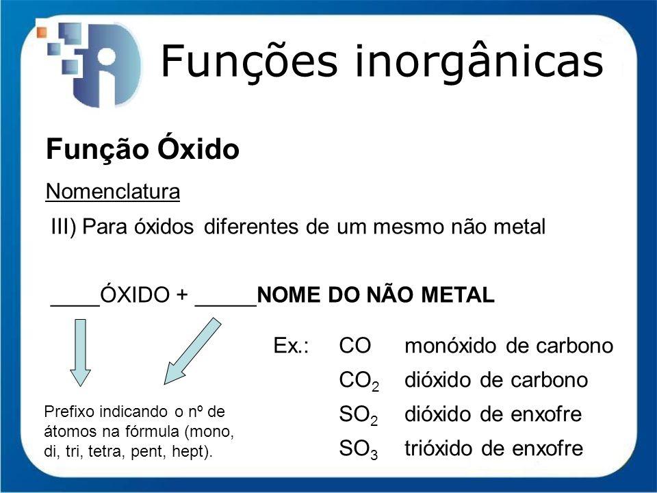 Funções inorgânicas Função Óxido Nomenclatura III) Para óxidos diferentes de um mesmo não metal ____ÓXIDO + _____NOME DO NÃO METAL Ex.:COmonóxido de c