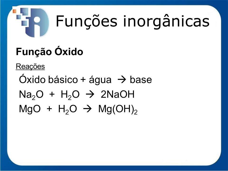 Funções inorgânicas Função Óxido Reações Óxido básico + água base Na 2 O + H 2 O 2NaOH MgO + H 2 O Mg(OH) 2