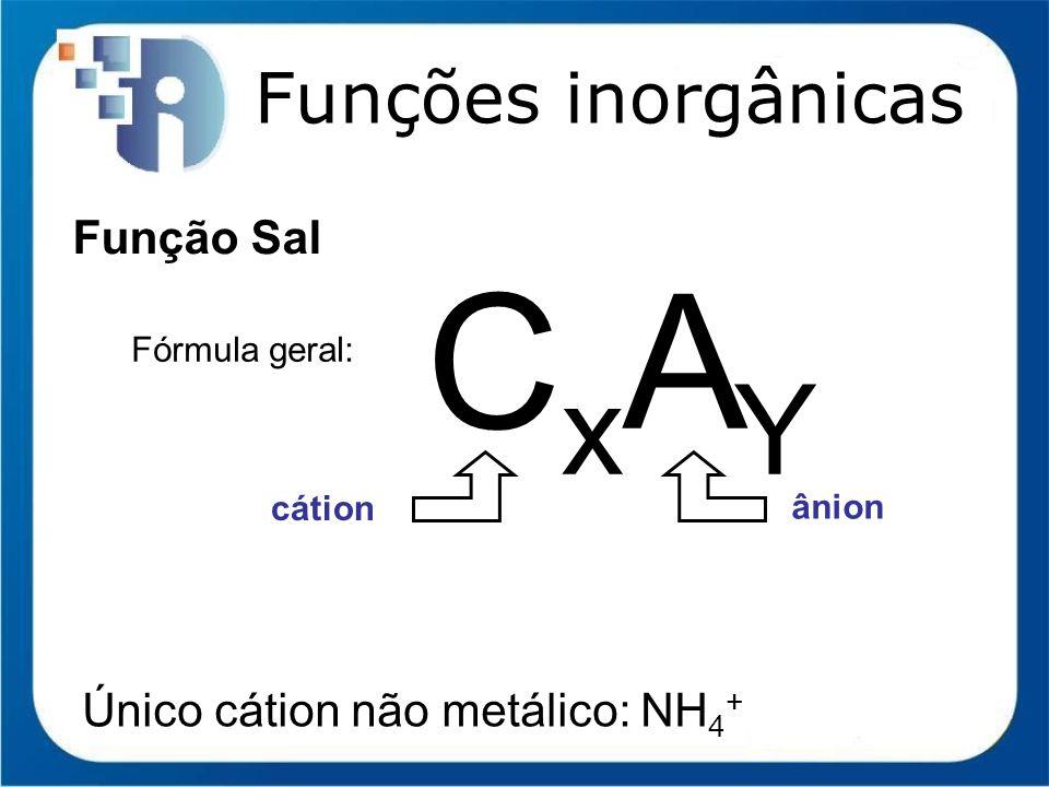 Funções inorgânicas Função Sal Fórmula geral: CxAYCxAY cátion ânion Único cátion não metálico: NH 4 +