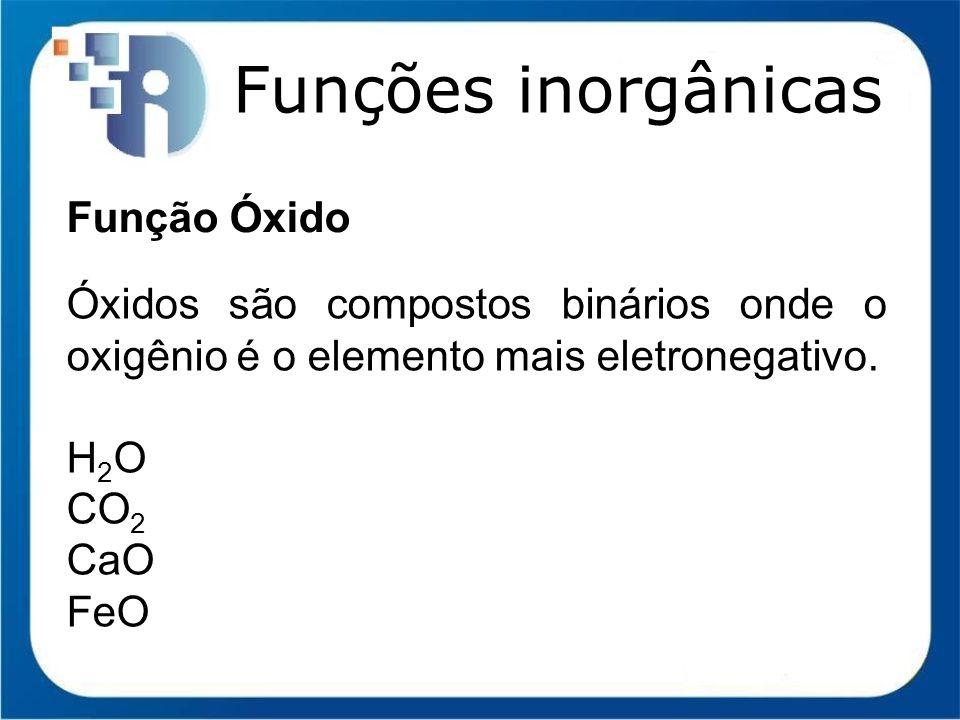 Funções inorgânicas Função Óxido Óxidos são compostos binários onde o oxigênio é o elemento mais eletronegativo. H 2 O CO 2 CaO FeO