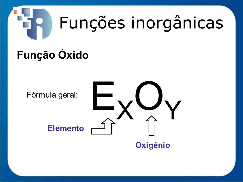 Funções inorgânicas Função Óxido Fórmula geral: EXOYEXOY Elemento Oxigênio