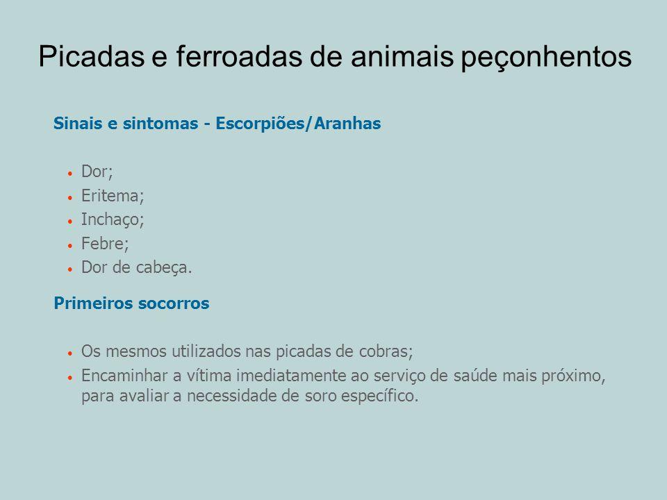 Sinais e sintomas - Escorpiões/Aranhas Dor; Eritema; Inchaço; Febre; Dor de cabeça. Primeiros socorros Os mesmos utilizados nas picadas de cobras; Enc
