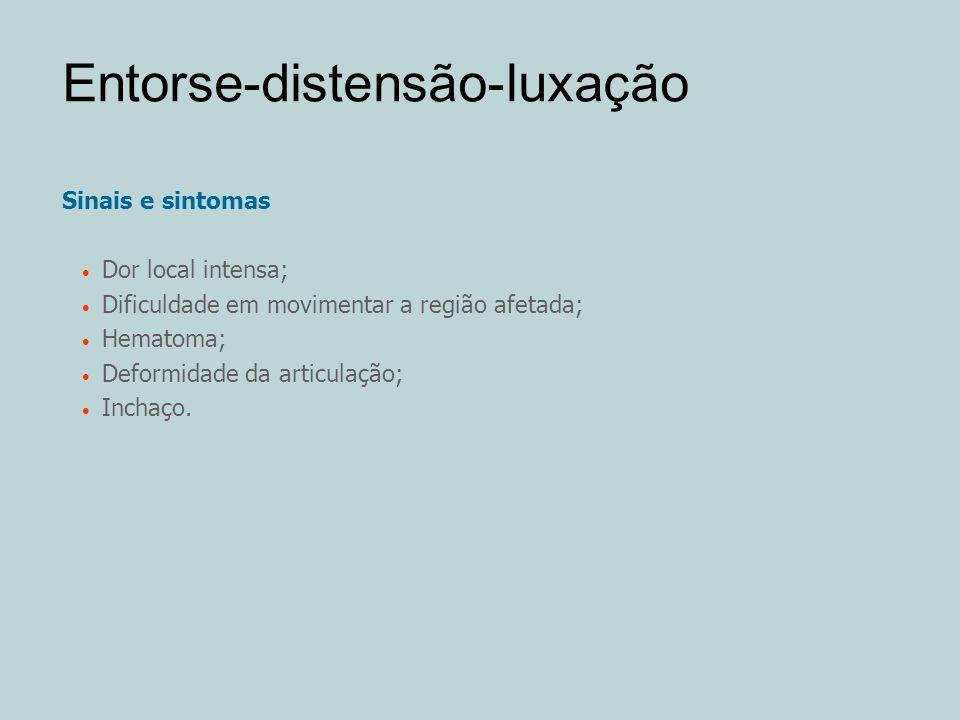 Entorse-distensão-luxação Sinais e sintomas Dor local intensa; Dificuldade em movimentar a região afetada; Hematoma; Deformidade da articulação; Incha