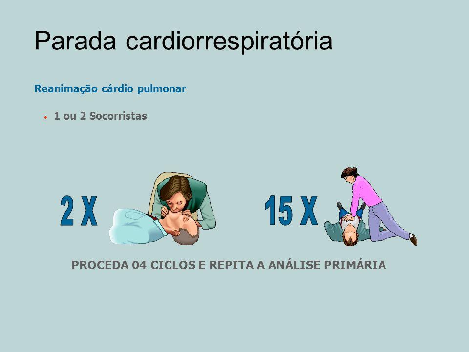 Parada cardiorrespiratória Reanimação cárdio pulmonar 1 ou 2 Socorristas PROCEDA 04 CICLOS E REPITA A ANÁLISE PRIMÁRIA