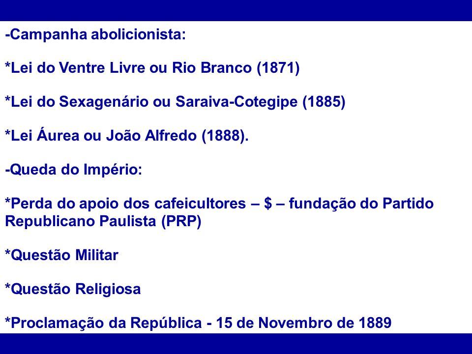 -Campanha abolicionista: *Lei do Ventre Livre ou Rio Branco (1871) *Lei do Sexagenário ou Saraiva-Cotegipe (1885) *Lei Áurea ou João Alfredo (1888). -