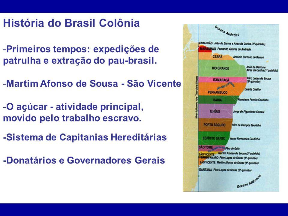 História do Brasil Colônia -Primeiros tempos: expedições de patrulha e extração do pau-brasil. -Martim Afonso de Sousa - São Vicente -O açúcar - ativi