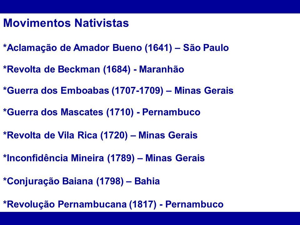 Movimentos Nativistas *Aclamação de Amador Bueno (1641) – São Paulo *Revolta de Beckman (1684) - Maranhão *Guerra dos Emboabas (1707-1709) – Minas Ger