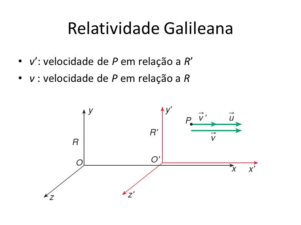 Relatividade Galileana v: velocidade de P em relação a R
