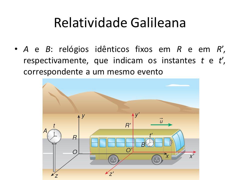 Relatividade Galileana A e B: relógios idênticos fixos em R e em R, respectivamente, que indicam os instantes t e t, correspondente a um mesmo evento