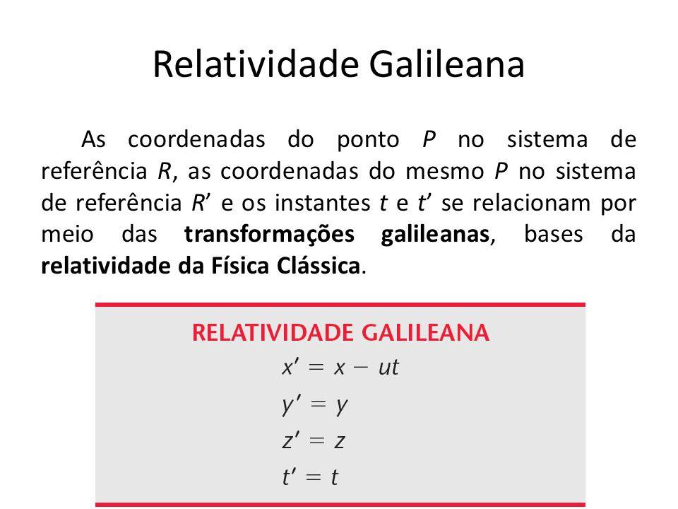 Relatividade Galileana As coordenadas do ponto P no sistema de referência R, as coordenadas do mesmo P no sistema de referência R e os instantes t e t