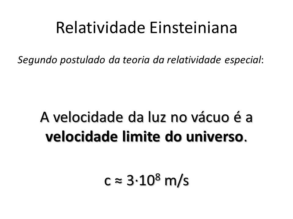 Relatividade Einsteiniana Segundo postulado da teoria da relatividade especial: A velocidade da luz no vácuo é a velocidade limite do universo. c 310