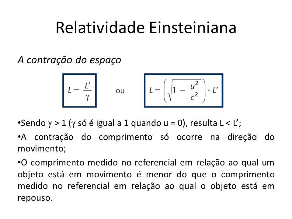 Relatividade Einsteiniana A contração do espaço Sendo γ > 1 ( γ só é igual a 1 quando u = 0), resulta L < L; A contração do comprimento só ocorre na d