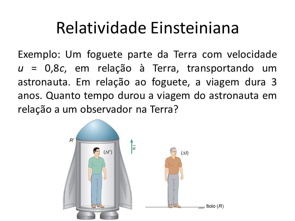 Relatividade Einsteiniana Exemplo: Um foguete parte da Terra com velocidade u = 0,8c, em relação à Terra, transportando um astronauta. Em relação ao f