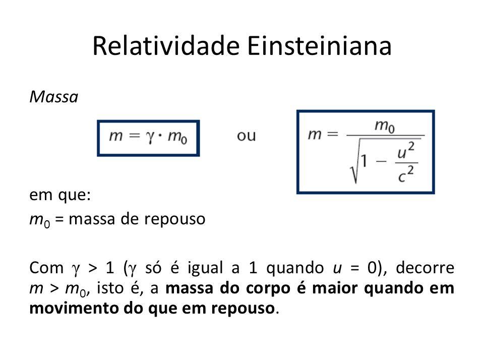 Massa em que: m 0 = massa de repouso Com γ > 1 ( γ só é igual a 1 quando u = 0), decorre m > m 0, isto é, a massa do corpo é maior quando em movimento