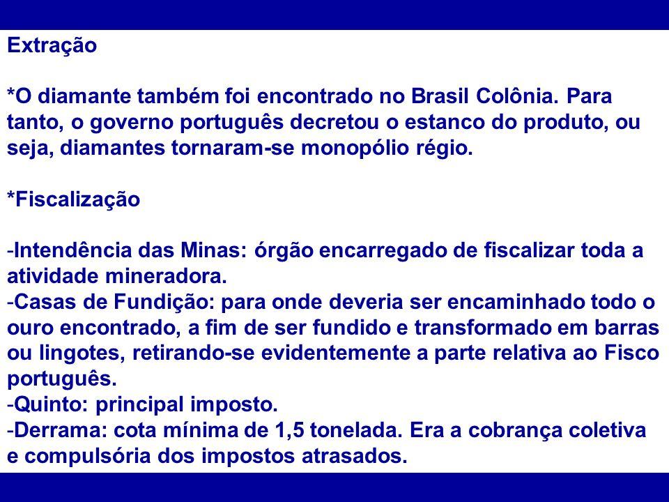 Extração *O diamante também foi encontrado no Brasil Colônia. Para tanto, o governo português decretou o estanco do produto, ou seja, diamantes tornar