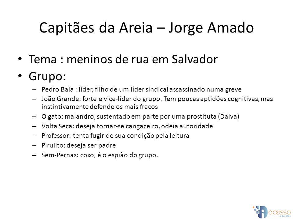 Capitães da Areia – Jorge Amado Tema : meninos de rua em Salvador Grupo: – Pedro Bala : líder, filho de um líder sindical assassinado numa greve – Joã