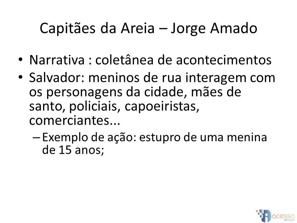 Capitães da Areia – Jorge Amado Narrativa : coletânea de acontecimentos Salvador: meninos de rua interagem com os personagens da cidade, mães de santo