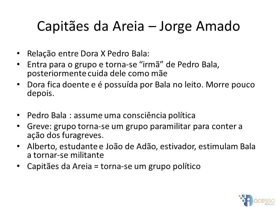 Capitães da Areia – Jorge Amado Relação entre Dora X Pedro Bala: Entra para o grupo e torna-se irmã de Pedro Bala, posteriormente cuida dele como mãe