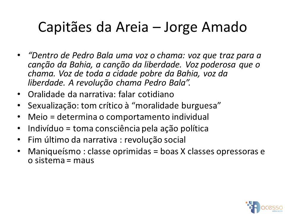 Capitães da Areia – Jorge Amado Dentro de Pedro Bala uma voz o chama: voz que traz para a canção da Bahia, a canção da liberdade. Voz poderosa que o c
