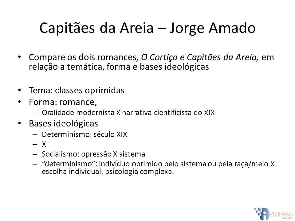 Capitães da Areia – Jorge Amado Compare os dois romances, O Cortiço e Capitães da Areia, em relação a temática, forma e bases ideológicas Tema: classe