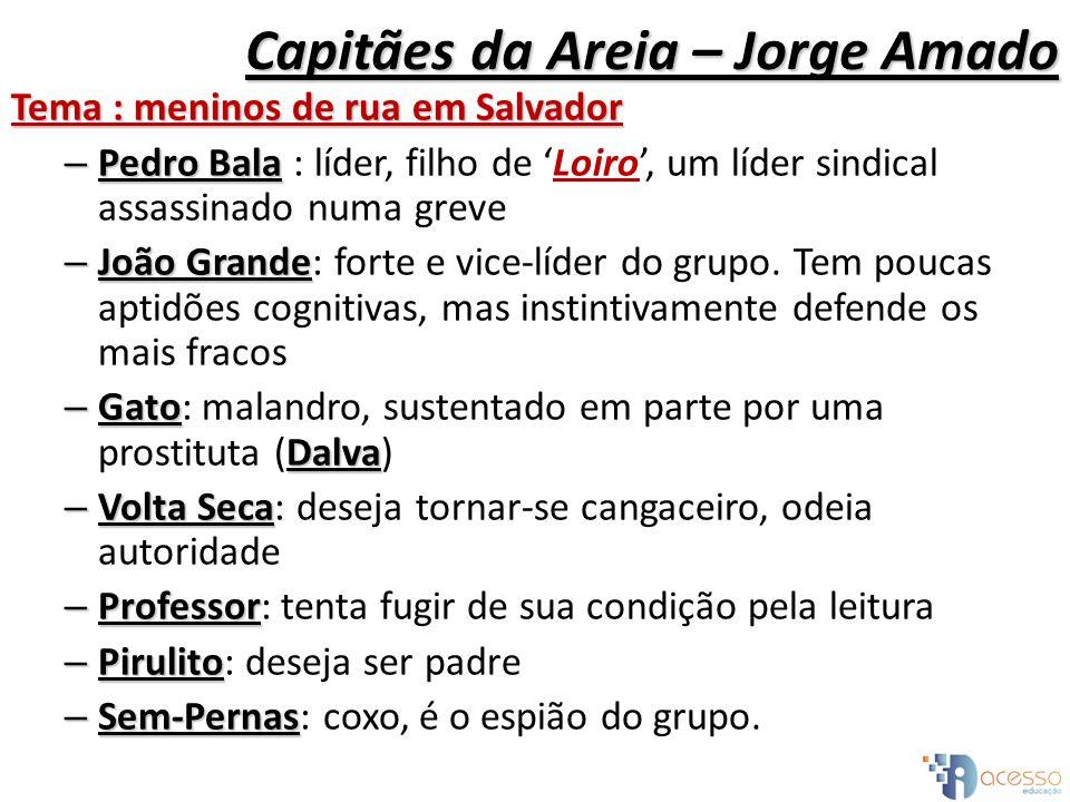 Capitães da Areia – Jorge Amado Tema : meninos de rua em Salvador – Pedro Bala – Pedro Bala : líder, filho de Loiro, um líder sindical assassinado num