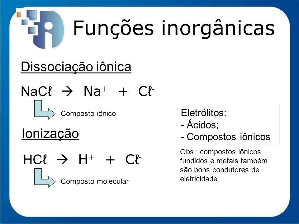 Funções inorgânicas Função Base (Arrhenius) Classificação I) Solubilidade em água: grupo 1, grupo 2 (exceto Mg) e NH 4 OH; II) Número de hidroxilas: monobase, dibase, tribase, tetrabase; III) Grau de dissociação: fortes (solúveis) e fracas (insolúveis e NH 4 OH).